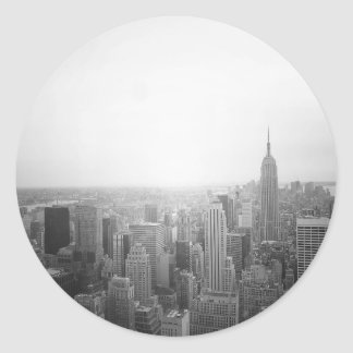 Black and White NYC Overhead View Round Sticker