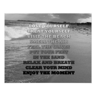 Black and White Ocean Beach and Quote Photo Poster