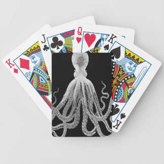 Black and white octopus bicycle playing cards