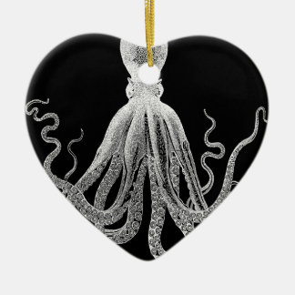 Black and white octopus ceramic ornament