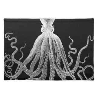 Black and white octopus placemat