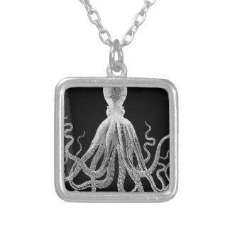 Black and white octopus silver plated necklace