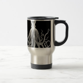 Black and white octopus travel mug