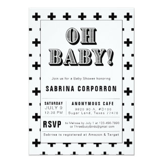 Black and White Oh Baby Baby Shower Invitation