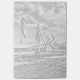 Black and White Oil Well Pumping Unit Post-Its Post-it Notes