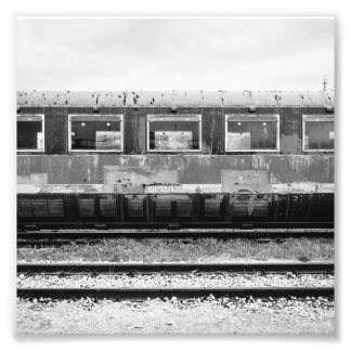 Black and White Old Train Photo Print