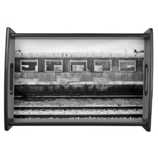 Black and White Old Train Serving Tray