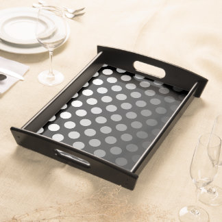 Black and White Ombre Polka Dots Serving Tray