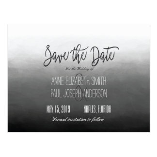 Black and white Ombre Save the Date Postcard