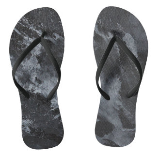 Black and White on Black Flip Flops