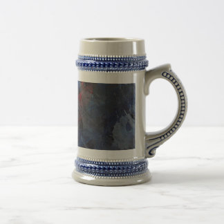 Black and White on Blue and Red Background Beer Stein