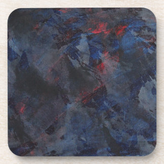 Black and White on Blue and Red Background Beverage Coasters
