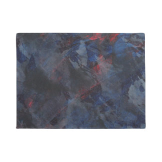 Black and White on Blue and Red Background Doormat