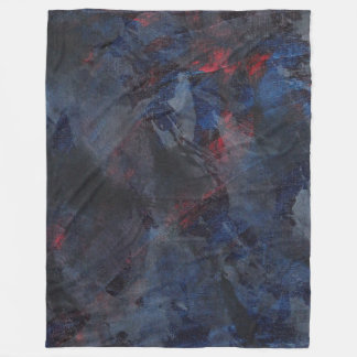 Black and White on Blue and Red Background Fleece Blanket