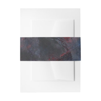 Black and White on Blue and Red Background Invitation Belly Band