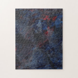 Black and White on Blue and Red Background Jigsaw Puzzle