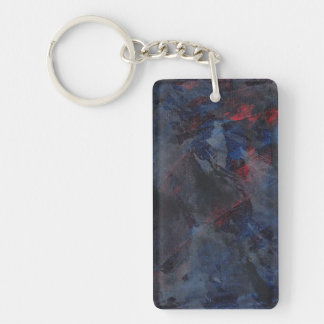 Black and White on Blue and Red Background Keychain