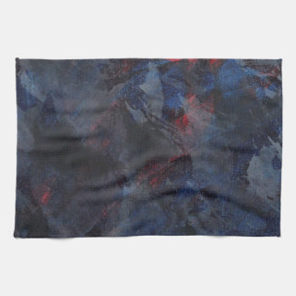 Black and White on Blue and Red Background Kitchen Towel