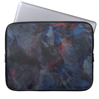 Black and White on Blue and Red Background Laptop Sleeve