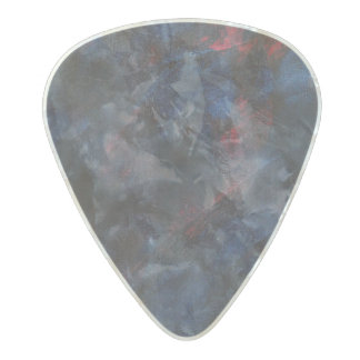 Black and White on Blue and Red Background Pearl Celluloid Guitar Pick