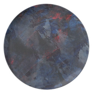 Black and White on Blue and Red Background Plate