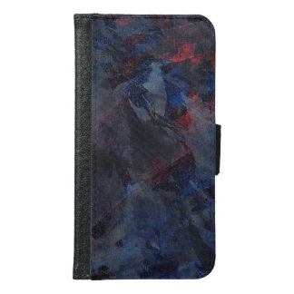 Black and White on Blue and Red Background Samsung Galaxy S6 Wallet Case