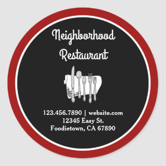 Black and White on Red Custom Restaurant Stickers