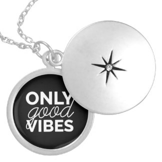 Black and White Only Good Vibes Silver Plated Necklace