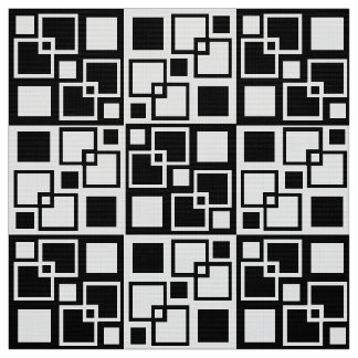 "Black and White Op-art Squares 60"" Polyester Popli Fabric"
