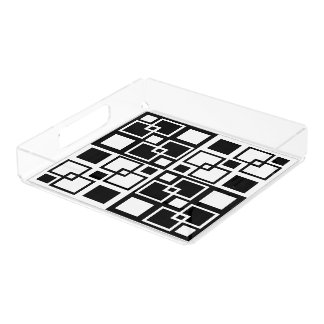 Black and White Op-art Squares Serving Tray