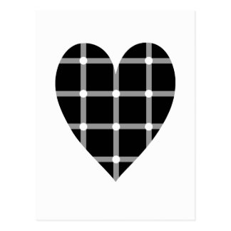 Black and white optical illusion heart postcard