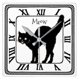 Black and White  or Custom BG Color Black Cat - Sq Wall Clock