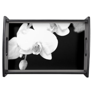 Black and White Orchid Serving Tray