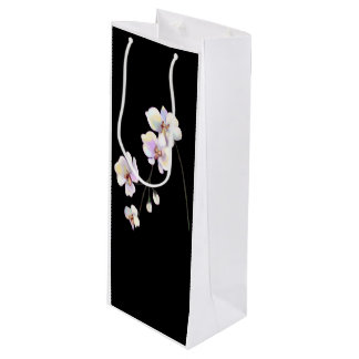 Black and White Orchid Wine Bag