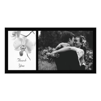 Black and White Orchids Thank You Photo Card