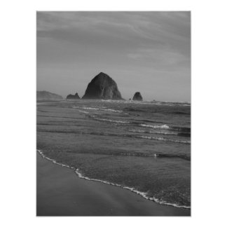 Black and White Oregon Beach Print