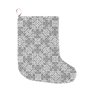 Black and White Oriental Ornate Large Christmas Stocking