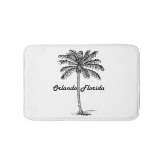Black and White Orlando & Palm design Bath Mat