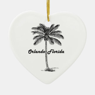 Black and White Orlando & Palm design Ceramic Ornament