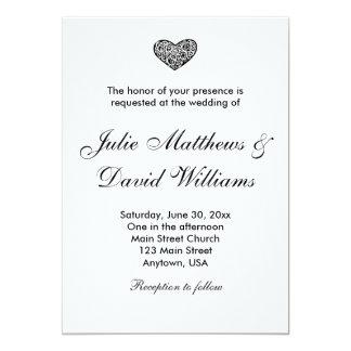 Black and White Ornamental Heart Wedding Invite