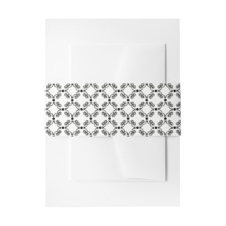 Black and White Ornate Elegance Belly Band Invitation Belly Band