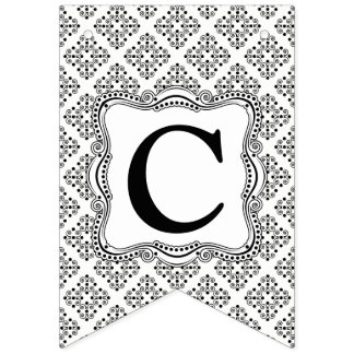 Black and White Ornate Elegance Bunting Flag. Bunting Flags