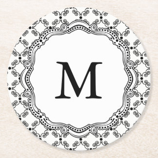 Black and White Ornate Elegance Paper Coasters. Round Paper Coaster