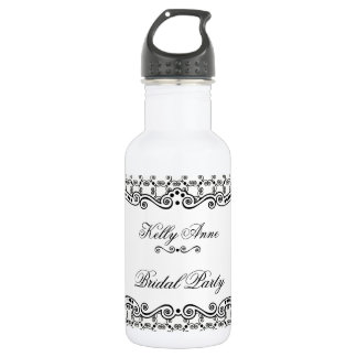 Black and White Ornate Elegance Water Bottle