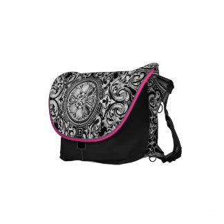 Black And White Ornate Floral Swirls Courier Bags