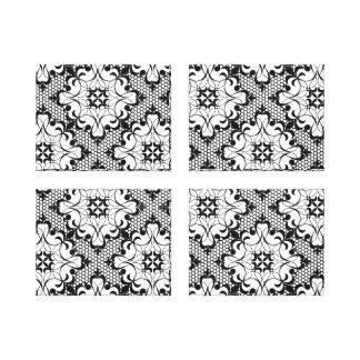Black and White Ornate Lace Quad Canvas Print