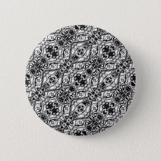 Black and White Ornate Pattern 2 Inch Round Button