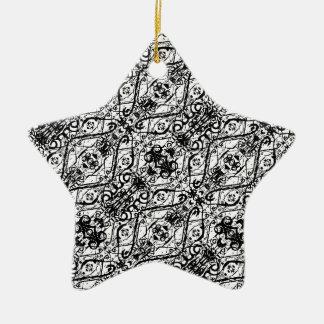 Black and White Ornate Pattern Ceramic Ornament