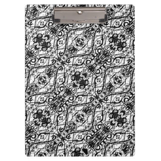 Black and White Ornate Pattern Clipboard
