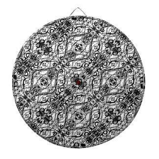 Black and White Ornate Pattern Dartboard